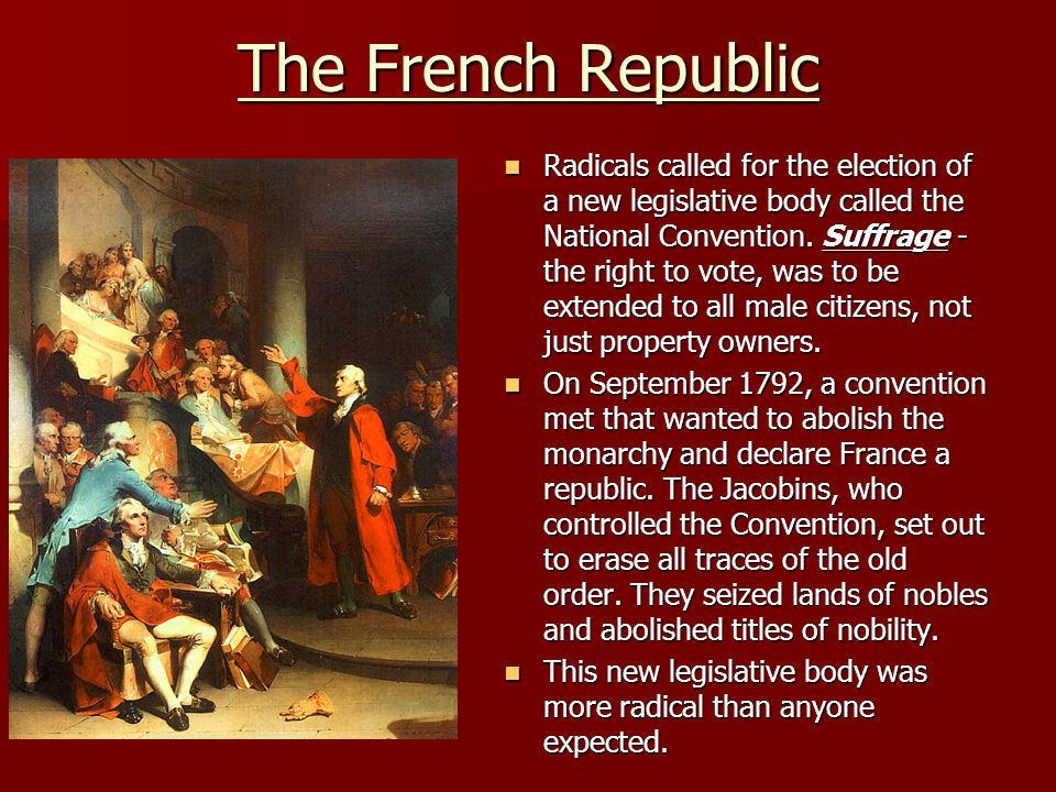 The French Republic Radicals called for the election of a new legislative body called the National Convention. Suffrage - the right to vote, was to be