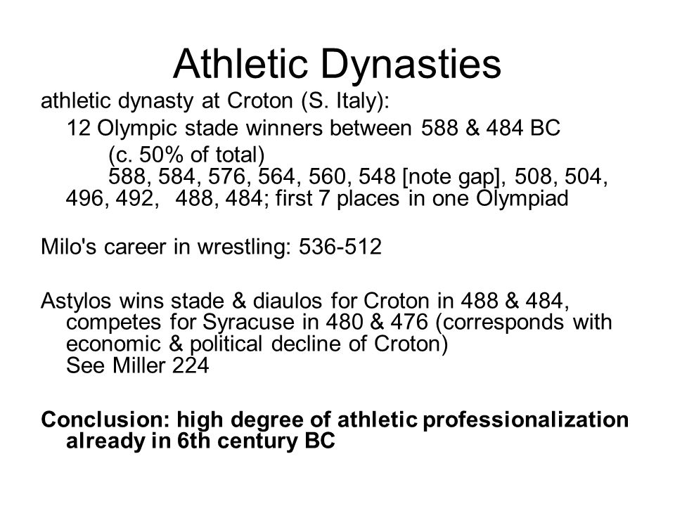 Athletic Dynasties athletic dynasty at Croton (S.
