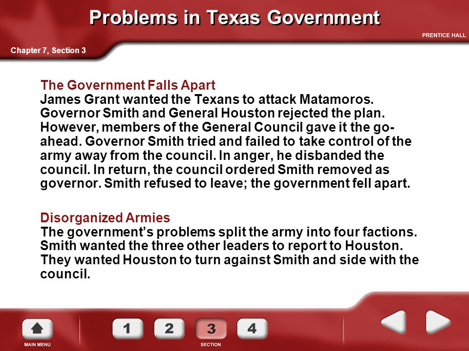 Problems in Texas Government The Government Falls Apart James Grant wanted the Texans to attack Matamoros.