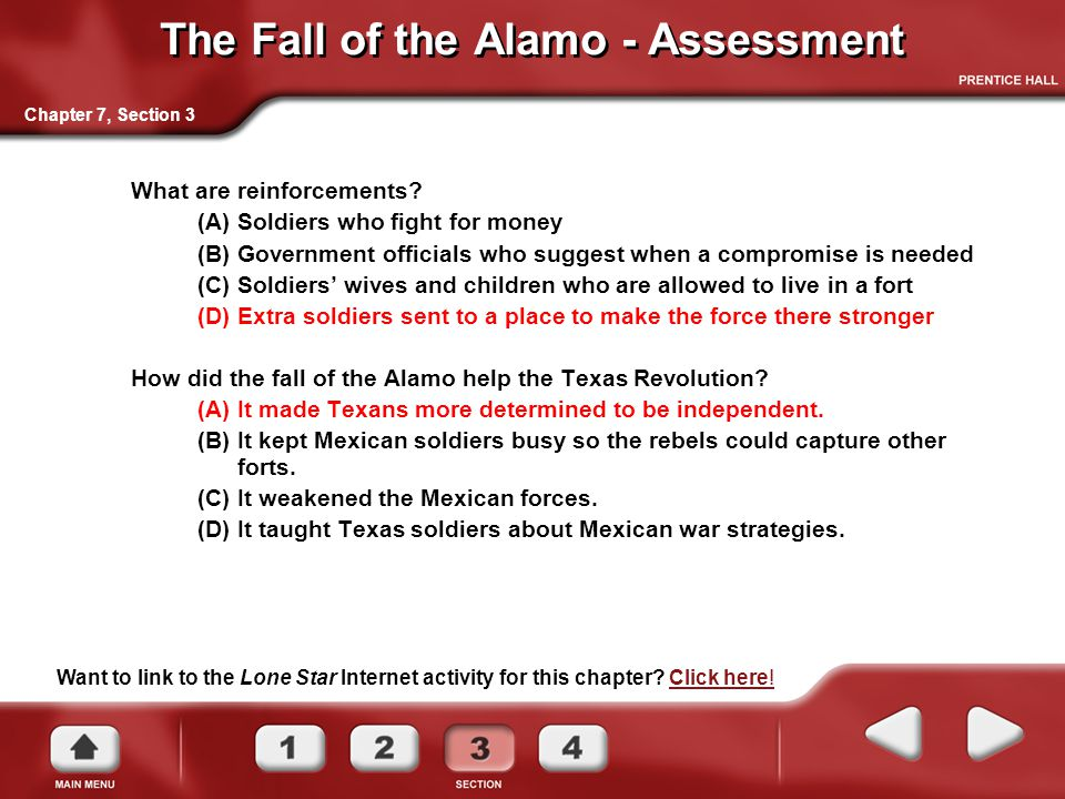 The Fall of the Alamo - Assessment What are reinforcements.