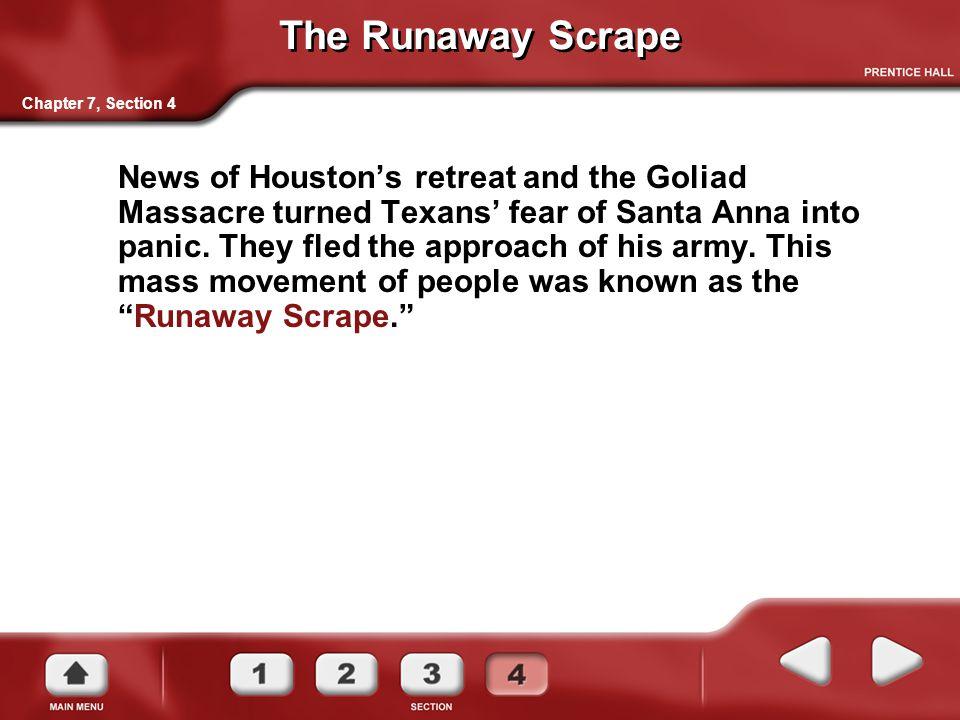 The Runaway Scrape News of Houston's retreat and the Goliad Massacre turned Texans' fear of Santa Anna into panic.