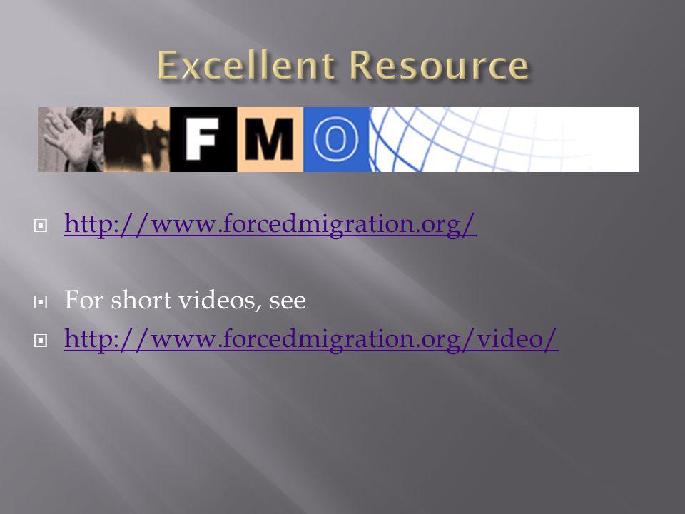  http://www.forcedmigration.org/ http://www.forcedmigration.org/  For short videos, see  http://www.forcedmigration.org/video/ http://www.forcedmig