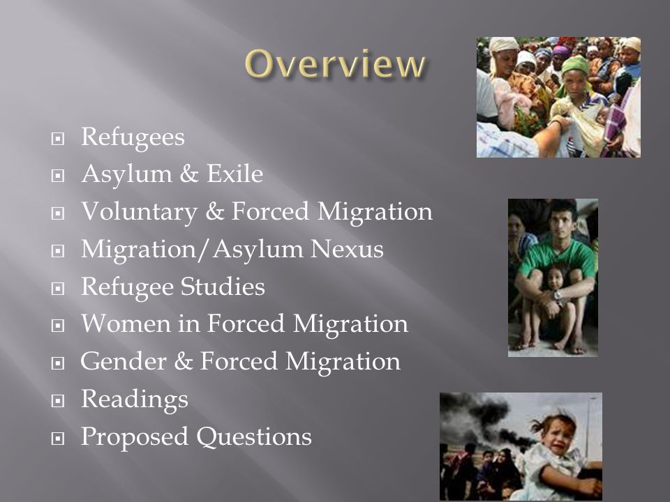  1951 Convention Relating to the Status of Refugees: a refugee is a person who flees to a foreign country or power to escape danger or persecution Convention Relating to the Status of Refugees  1967 Protocol: include persons who have fled war or other violence in their home country  Environmental refugees (people displaced because of environmental problems such as drought) are not included in the definition of refugee under international law, neither are Environmental refugeesenvironmental droughtinternational law  Internally displaced people (IDP) Internally displaced people