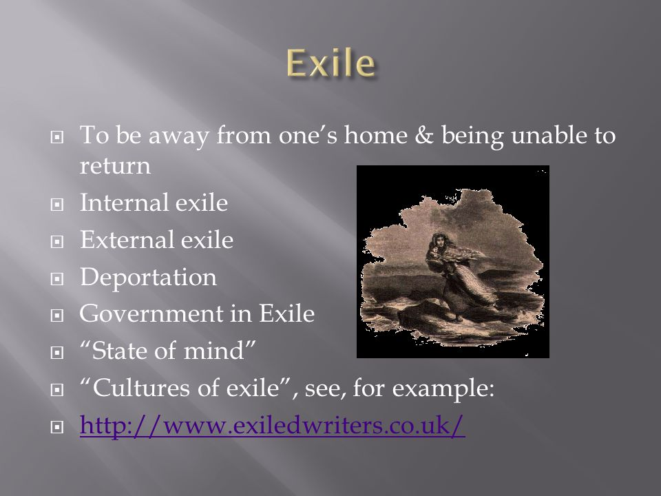 """ To be away from one's home & being unable to return  Internal exile  External exile  Deportation  Government in Exile  """"State of mind""""  """"Cultu"""
