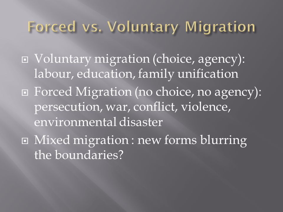  1.Forced migrants distinctive experience & needs.