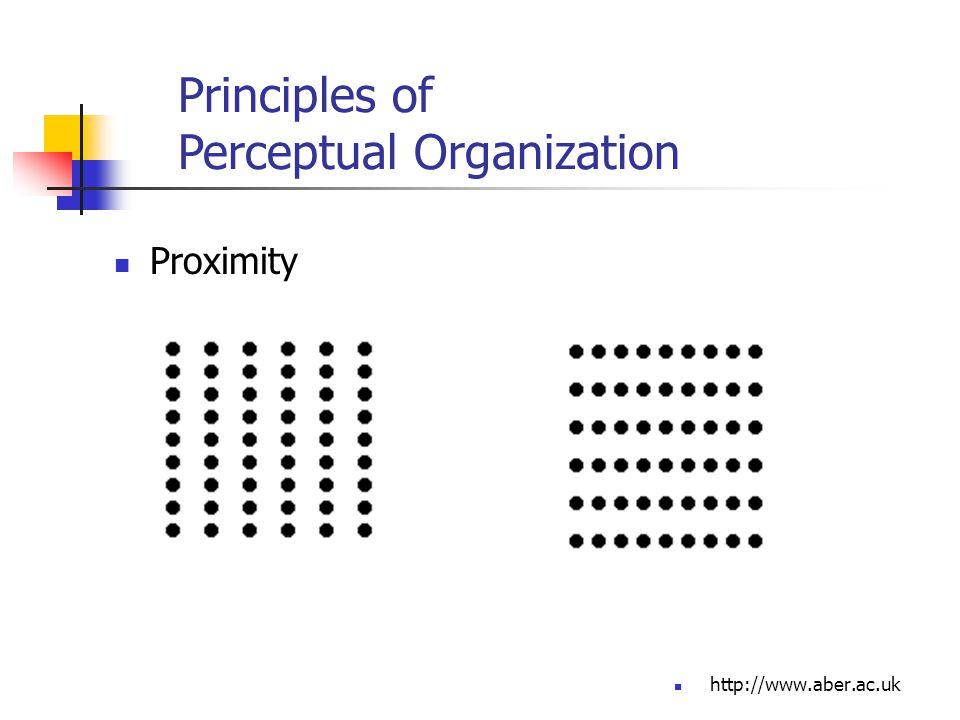 http://www.aber.ac.uk Proximity Principles of Perceptual Organization
