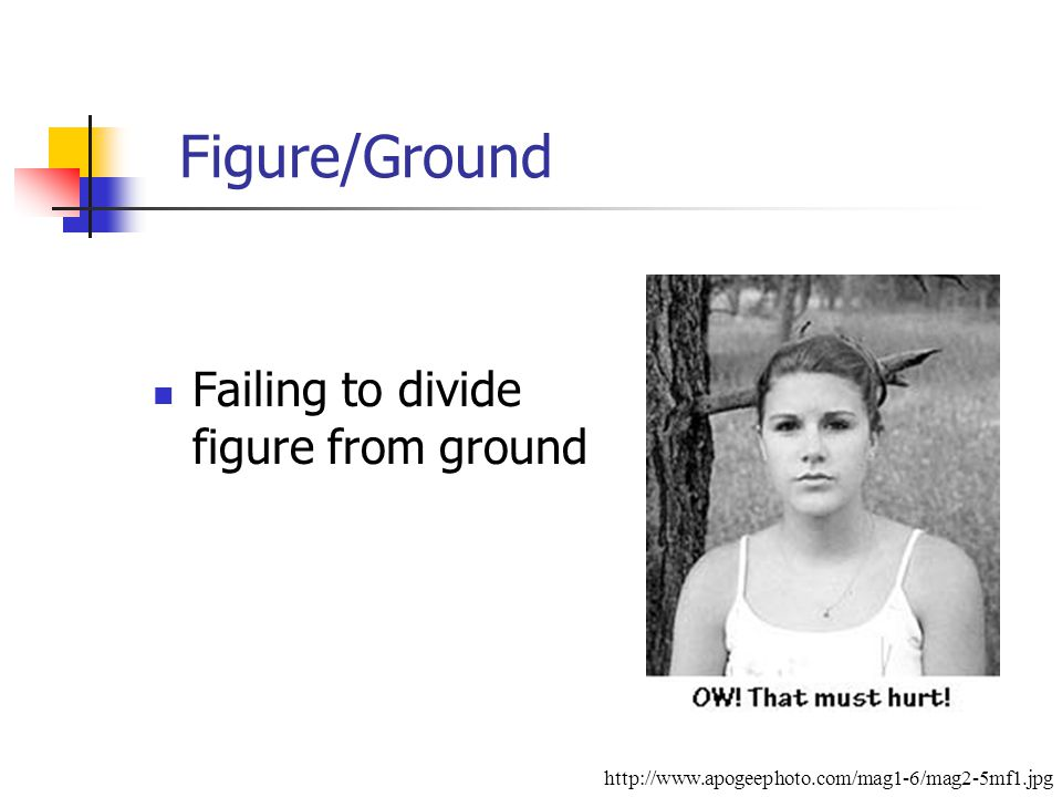 Figure/Ground Failing to divide figure from ground http://www.apogeephoto.com/mag1-6/mag2-5mf1.jpg