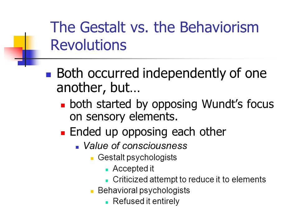Both occurred independently of one another, but… both started by opposing Wundt's focus on sensory elements.