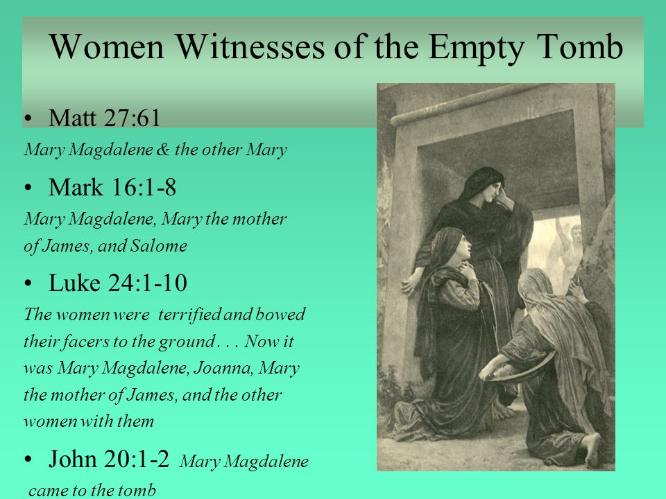 Women Witnesses of the Empty Tomb Matt 27:61 Mary Magdalene & the other Mary Mark 16:1-8 Mary Magdalene, Mary the mother of James, and Salome Luke 24: