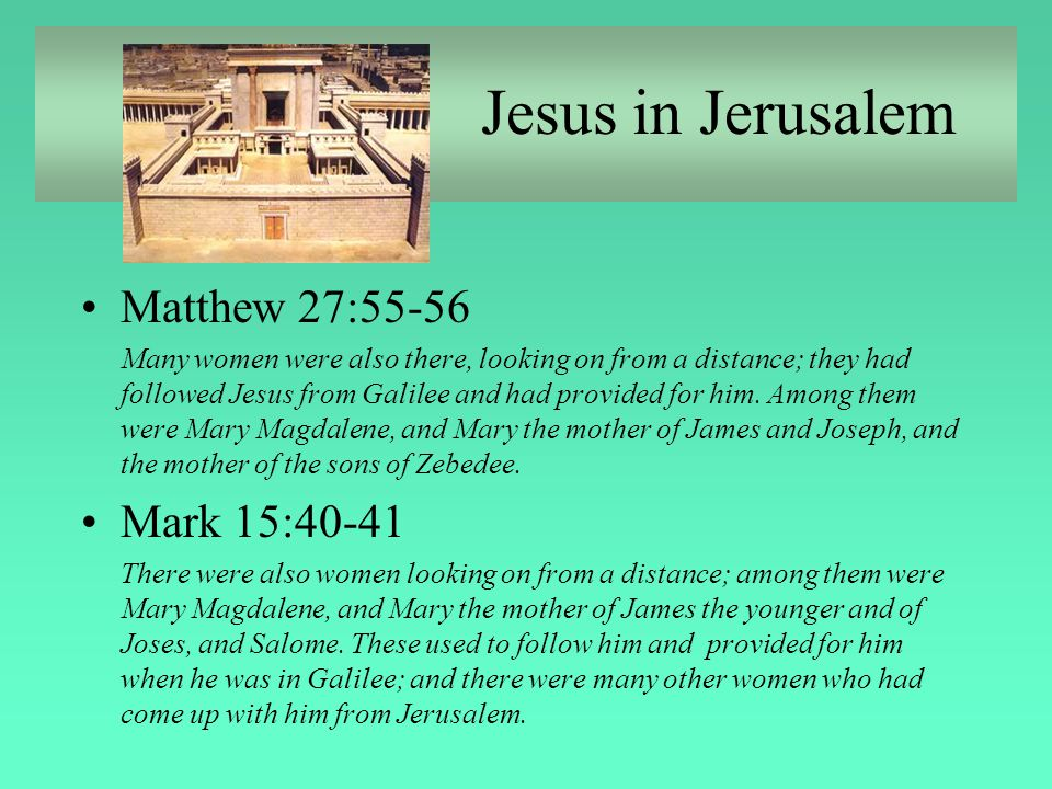 Mary Anointing Jesus John 12:1-8 Mary of Bethany at home w/Lazarus & Martha Jesus en route to Jerusalem for Passover Costly nard--extravagent love Judas complains Foreshadows death &burial Foreshadows Jesus' footwashing for disciples (John 13:1-20) New Commandment Courtesy Denim & Lace