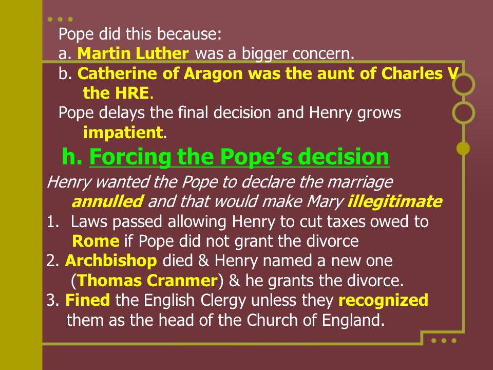 Pope did this because: a. Martin Luther was a bigger concern. b. Catherine of Aragon was the aunt of Charles V the HRE. Pope delays the final decision