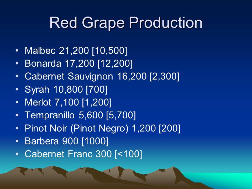 Red Grape Production Malbec 21,200 [10,500] Bonarda 17,200 [12,200] Cabernet Sauvignon 16,200 [2,300] Syrah 10,800 [700] Merlot 7,100 [1,200] Tempranillo 5,600 [5,700] Pinot Noir (Pinot Negro) 1,200 [200] Barbera 900 [1000] Cabernet Franc 300 [<100]