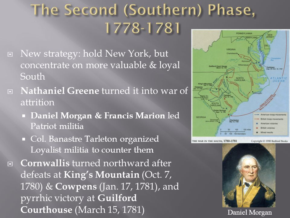  New strategy: hold New York, but concentrate on more valuable & loyal South  Nathaniel Greene turned it into war of attrition  Daniel Morgan & Francis Marion led Patriot militia  Col.
