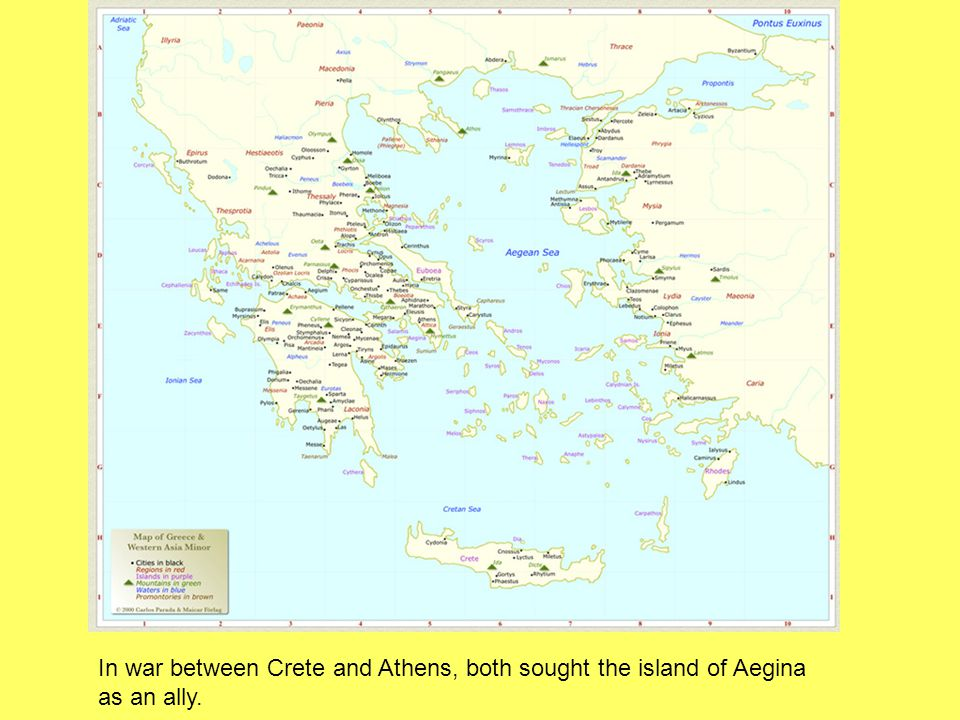 In war between Crete and Athens, both sought the island of Aegina as an ally.