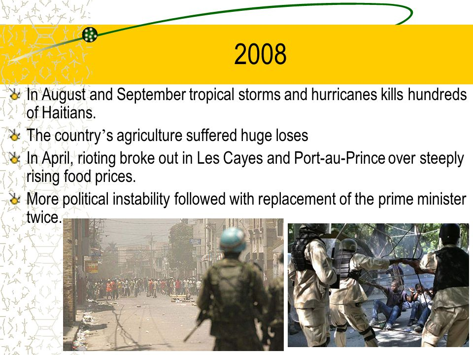 2008 In August and September tropical storms and hurricanes kills hundreds of Haitians.