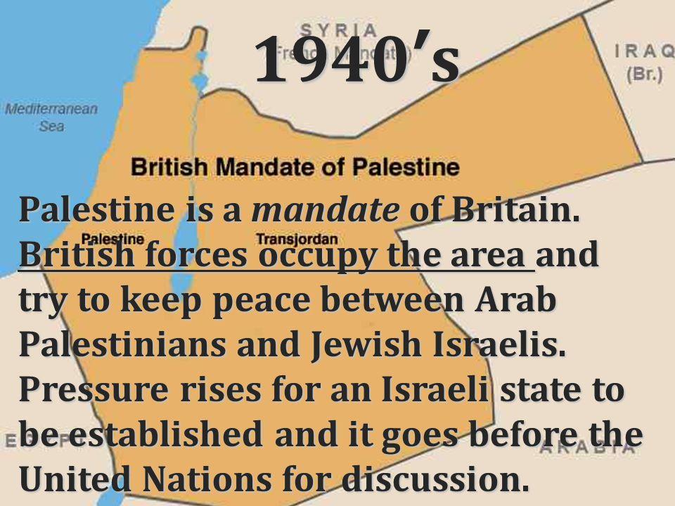 1940's Palestine is a mandate of Britain.