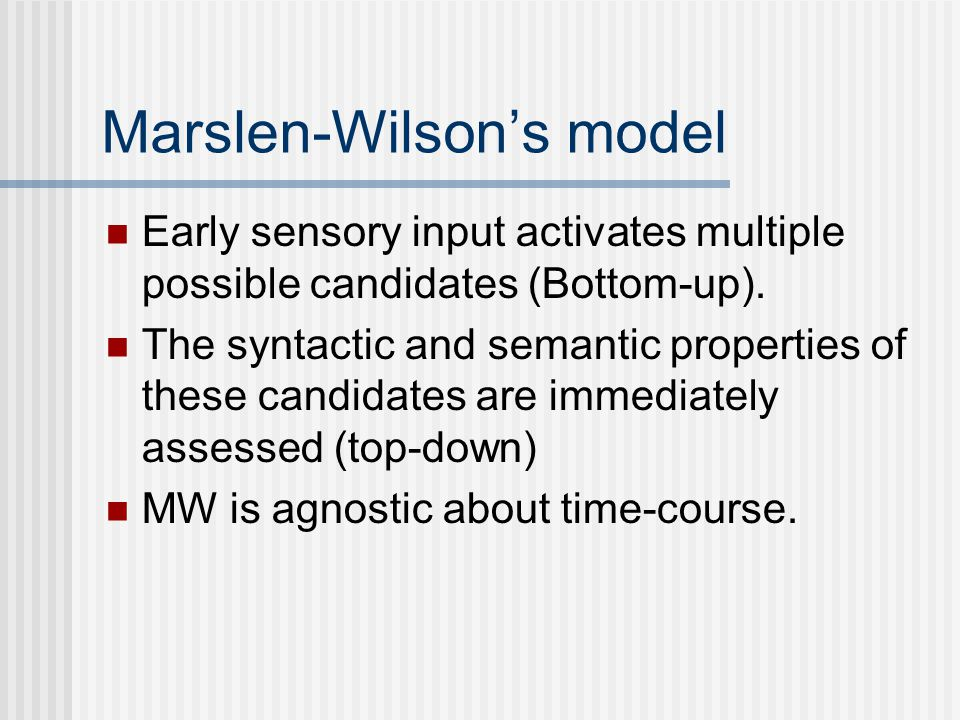 Marslen-Wilson's model Early sensory input activates multiple possible candidates (Bottom-up).