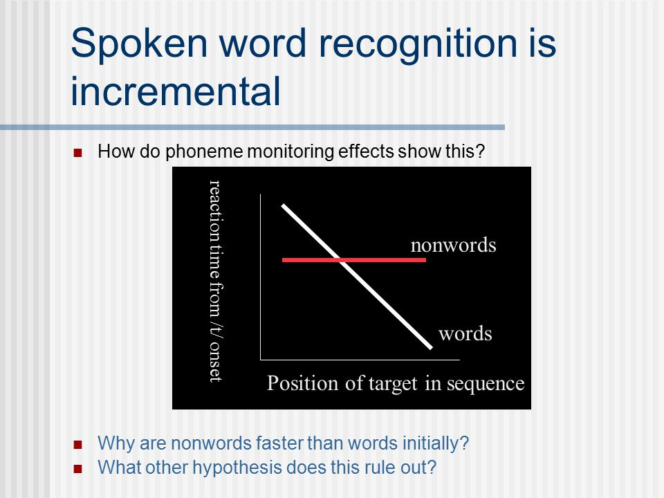 Spoken word recognition is incremental How do phoneme monitoring effects show this.