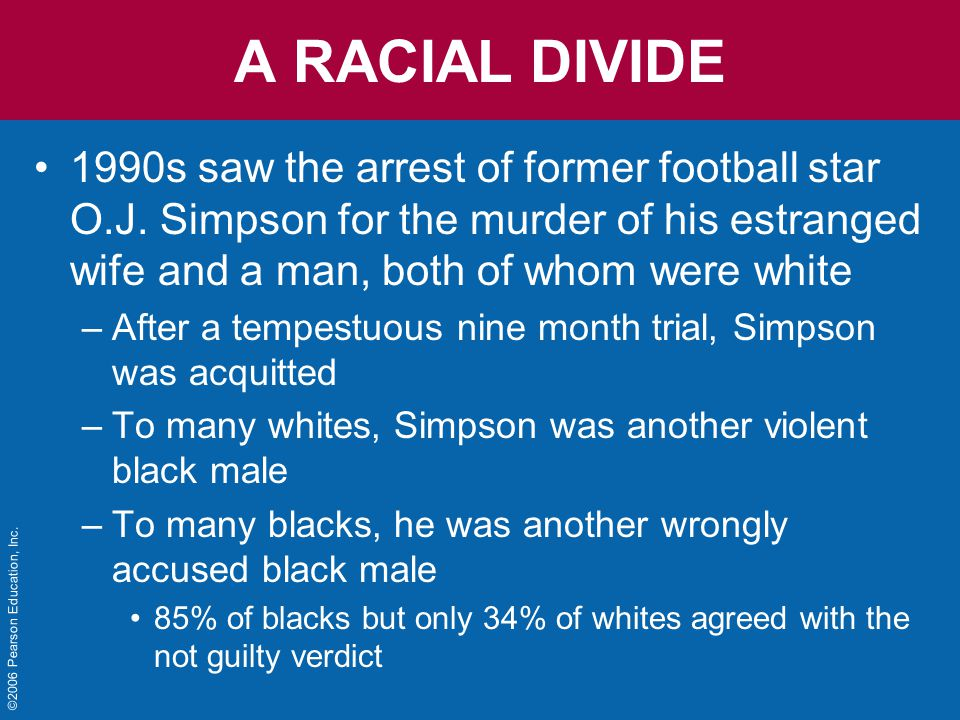 ©2006 Pearson Education, Inc. A RACIAL DIVIDE 1990s saw the arrest of former football star O.J.