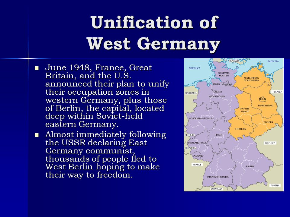 Berlin Blockade In response to the unification of West Germany, Stalin sent troops to blockade the western border of Berlin, halting vital supplies to 2 million people.