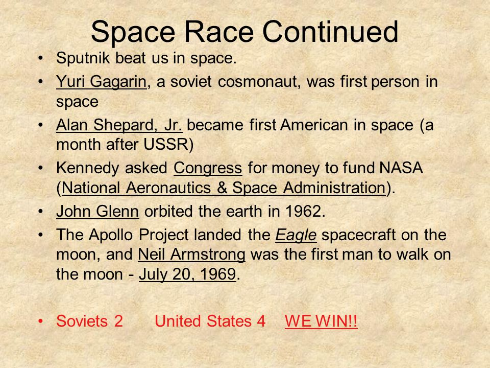 Space Race Continued Sputnik beat us in space.