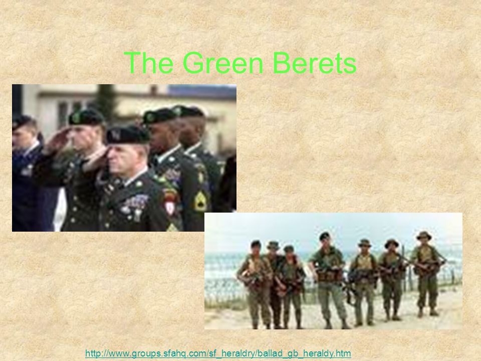 In an April 11, 1962, White House memorandum for the United States Army, President Kennedy showed his continued support for the Special Forces, calling the green beret a symbol of excellence, a badge of courage, a mark of distinction in the fight for freedom. To honor his memory, Special Forces soldiers pay their respects to late President Kennedy by laying a wreath and green beret on his tomb every November twenty-second, the date of his assassination. http://www.specialoperations.com/Army/Special_Forces/SF_Info/Story.htm