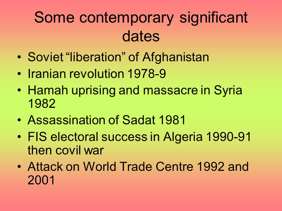"Some contemporary significant dates Soviet ""liberation"" of Afghanistan Iranian revolution 1978-9 Hamah uprising and massacre in Syria 1982 Assassinati"