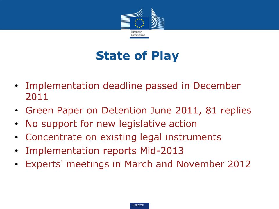 State of Play Implementation deadline passed in December 2011 Green Paper on Detention June 2011, 81 replies No support for new legislative action Con