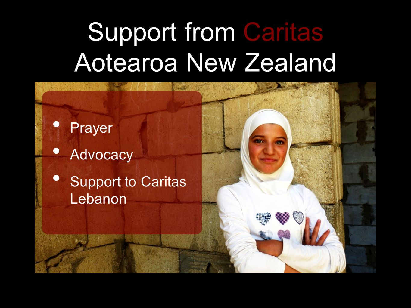 Support from Caritas Aotearoa New Zealand Prayer Advocacy Support to Caritas Lebanon