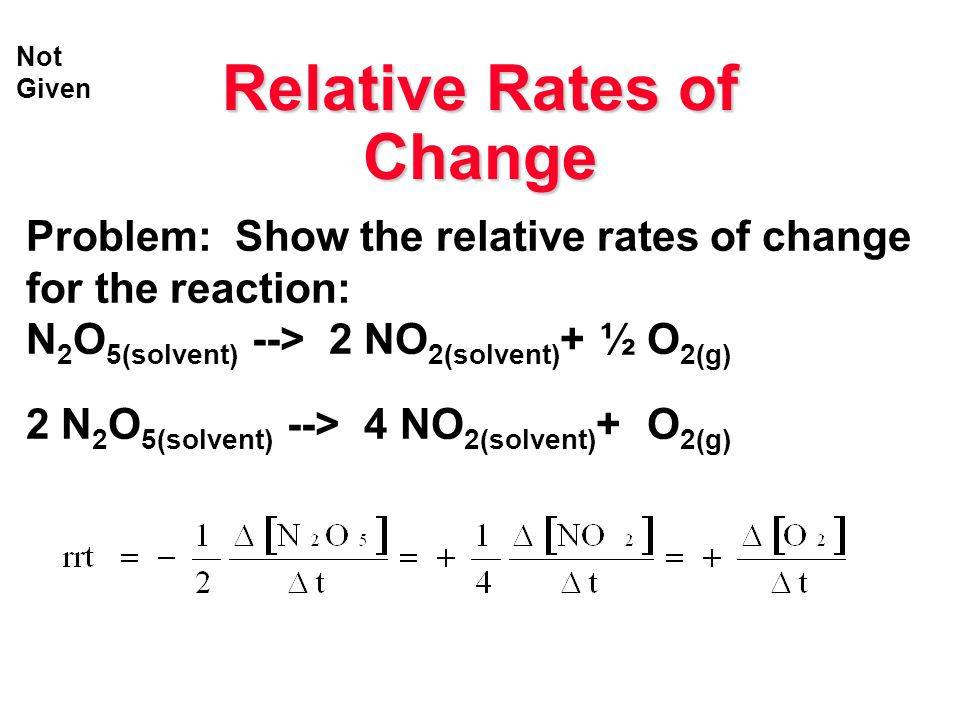 Relative Rates of Change Problem: Show the relative rates of change for the reaction: N 2 O 5(solvent) --> 2 NO 2(solvent) + ½ O 2(g) 2 N 2 O 5(solven