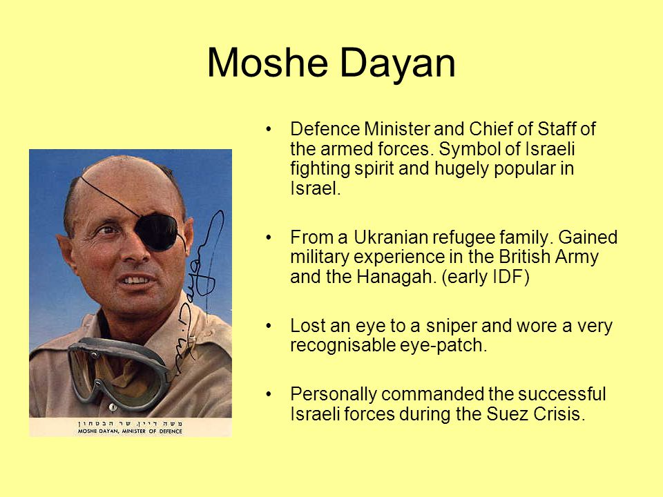 Moshe Dayan Defence Minister and Chief of Staff of the armed forces.
