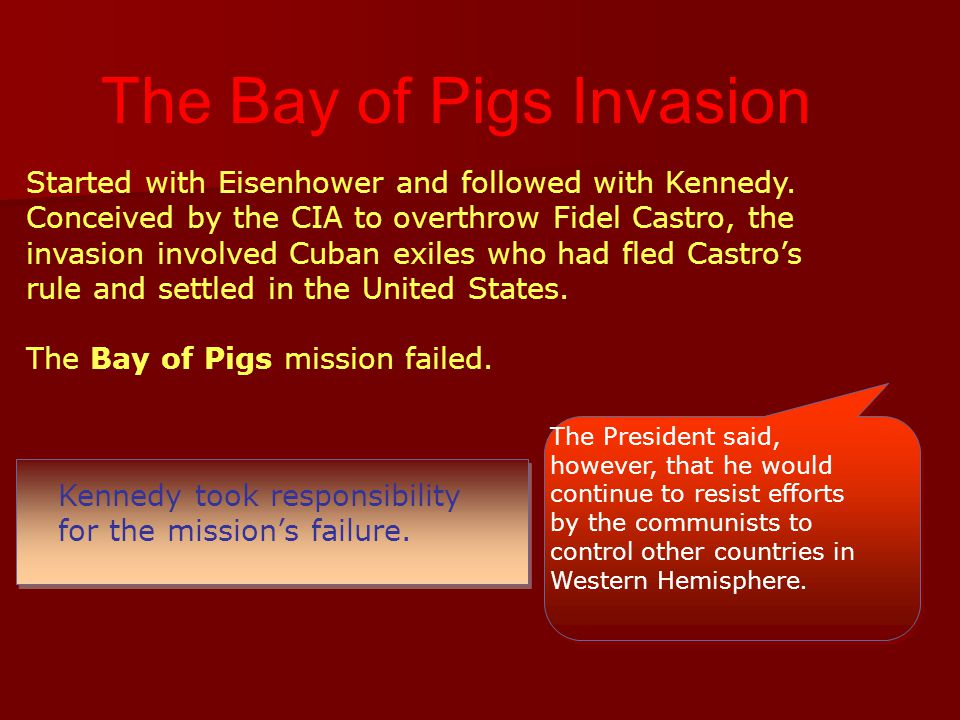 Kennedy took responsibility for the mission's failure. The President said, however, that he would continue to resist efforts by the communists to cont