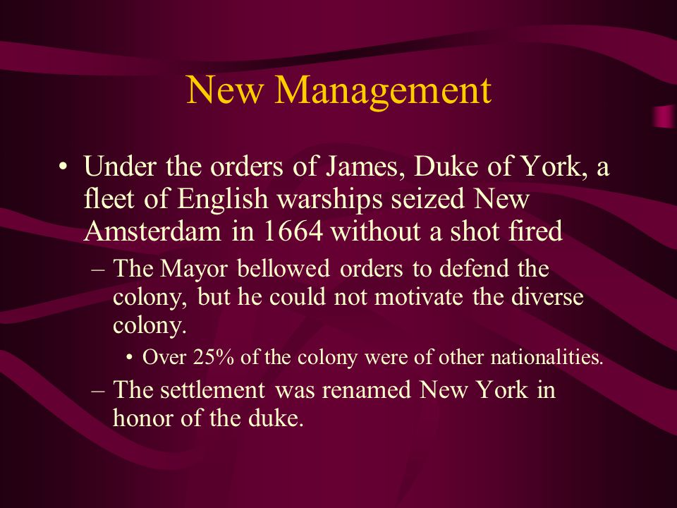The same year, New Amsterdam became the administration center of New Netherlands and was permanently settled.