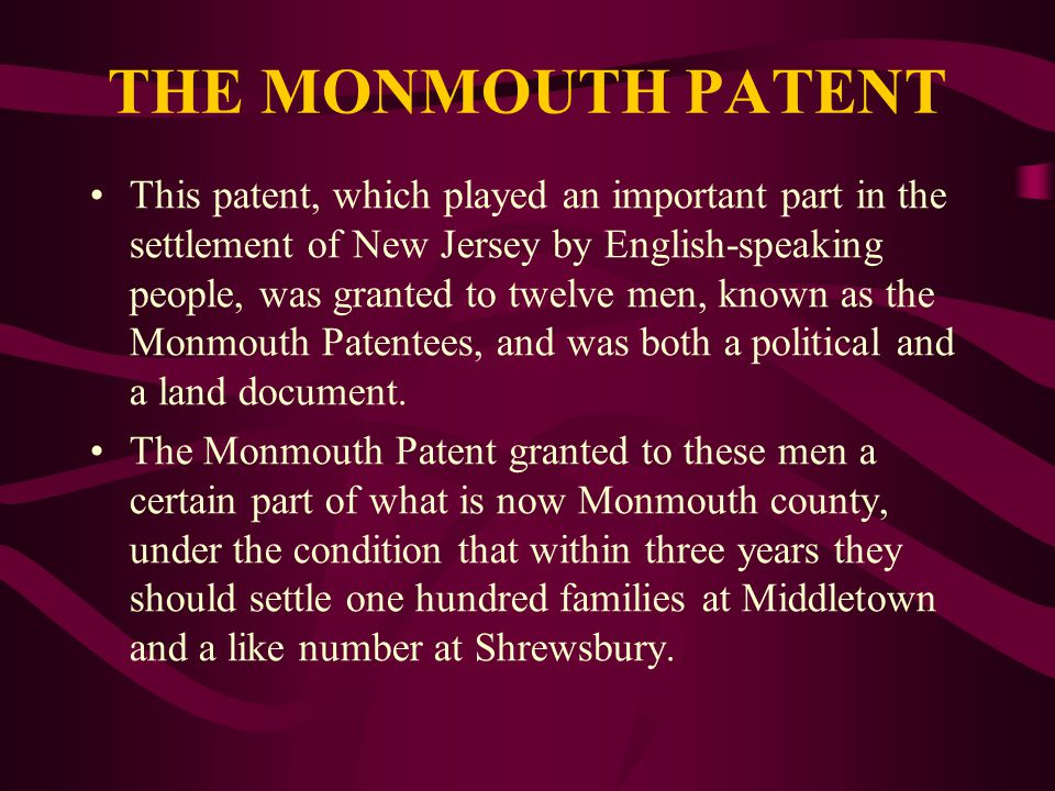 Monmouth County In the beginning (1665) both Middletown and Shrewsbury were settled by Presbyterians (Scottish Calvinists) and Quakers (Society of Friends) The settlers built their towns in compact forms for common defense and social interaction