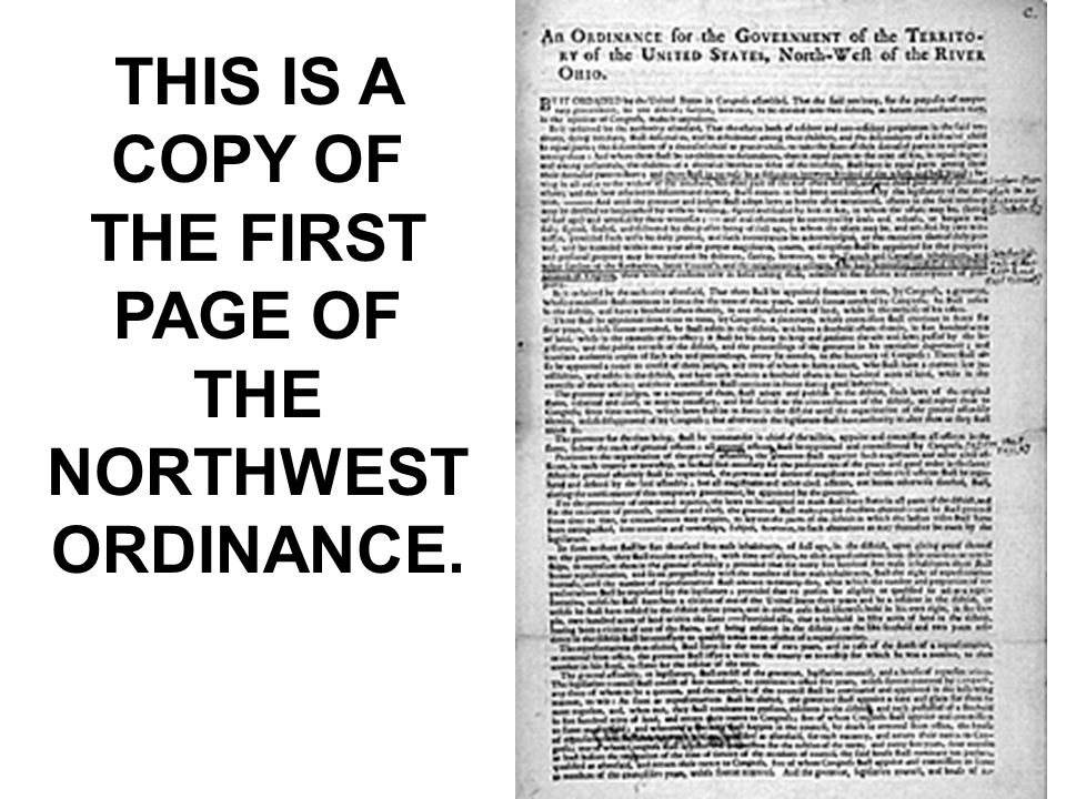 THIS IS A COPY OF THE FIRST PAGE OF THE NORTHWEST ORDINANCE.
