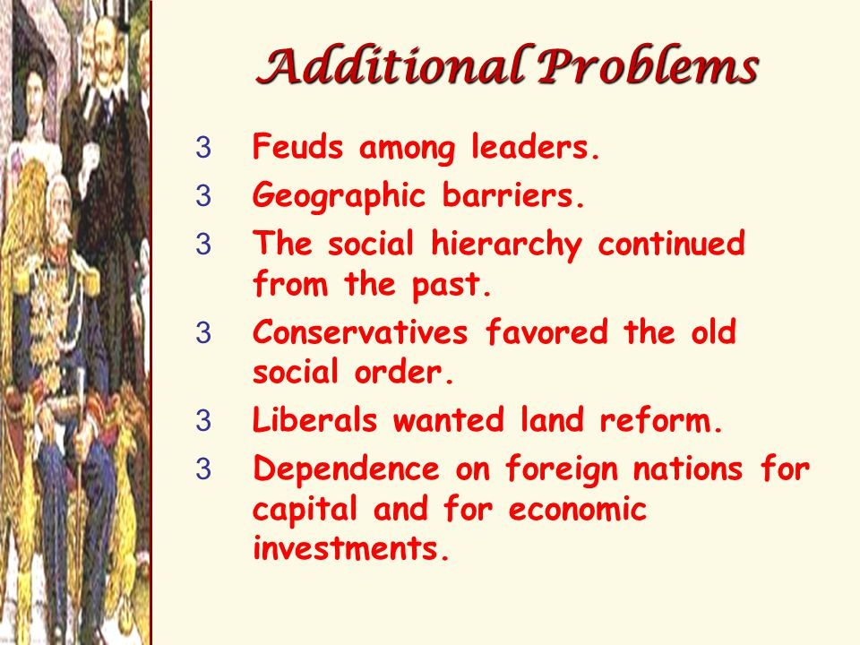 Additional Problems 3 Feuds among leaders. 3 Geographic barriers.