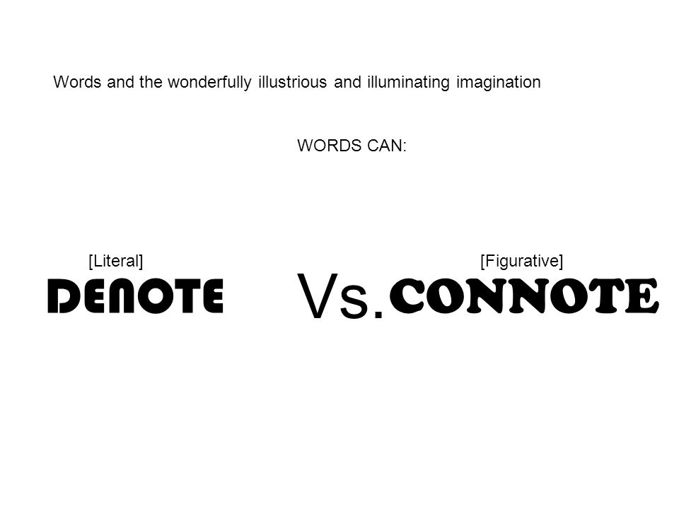Words and the wonderfully illustrious and illuminating imagination CONNOTE DENOTE WORDS CAN: Vs. [Literal][Figurative]