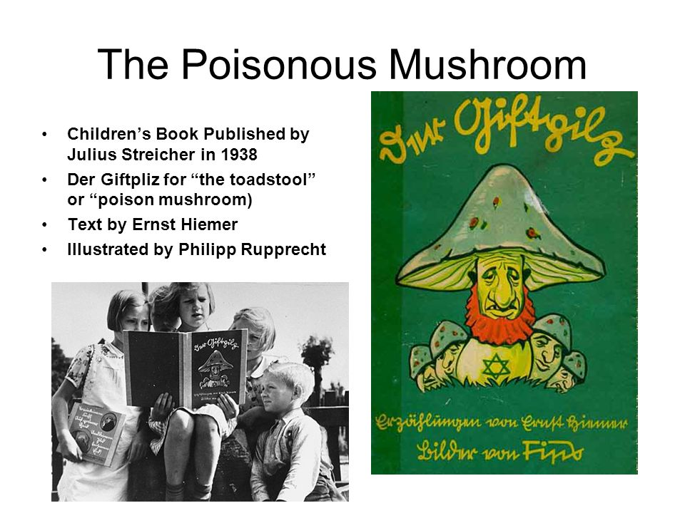 The Poisonous Mushroom Children's Book Published by Julius Streicher in 1938 Der Giftpliz for the toadstool or poison mushroom) Text by Ernst Hiemer Illustrated by Philipp Rupprecht