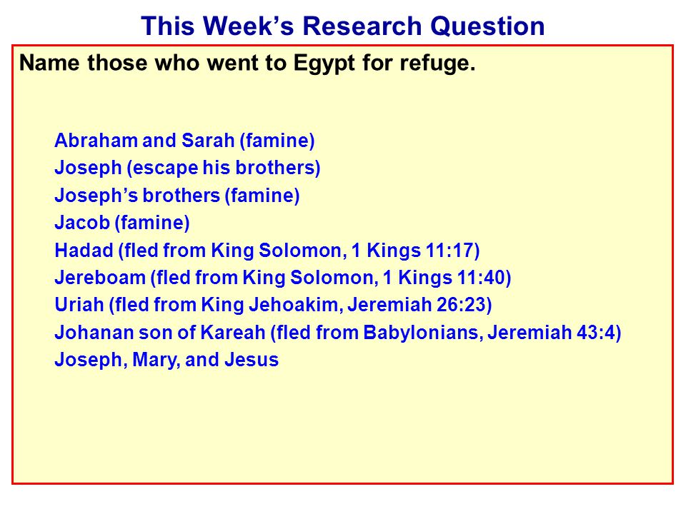 This Week's Research Question Name those who went to Egypt for refuge.