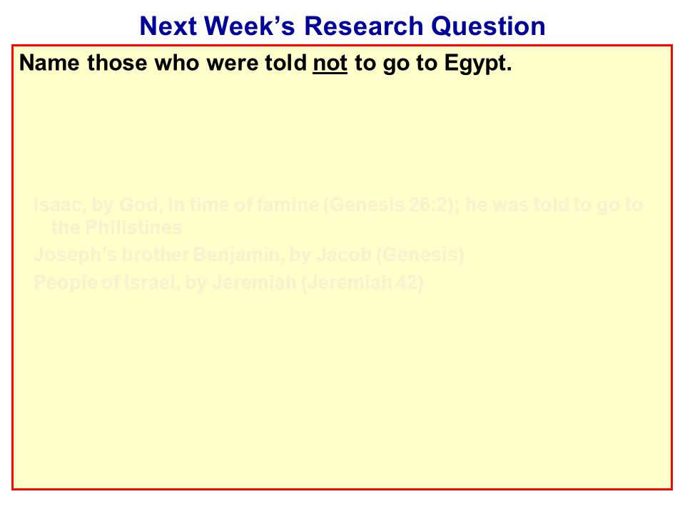 Next Week's Research Question Name those who were told not to go to Egypt.