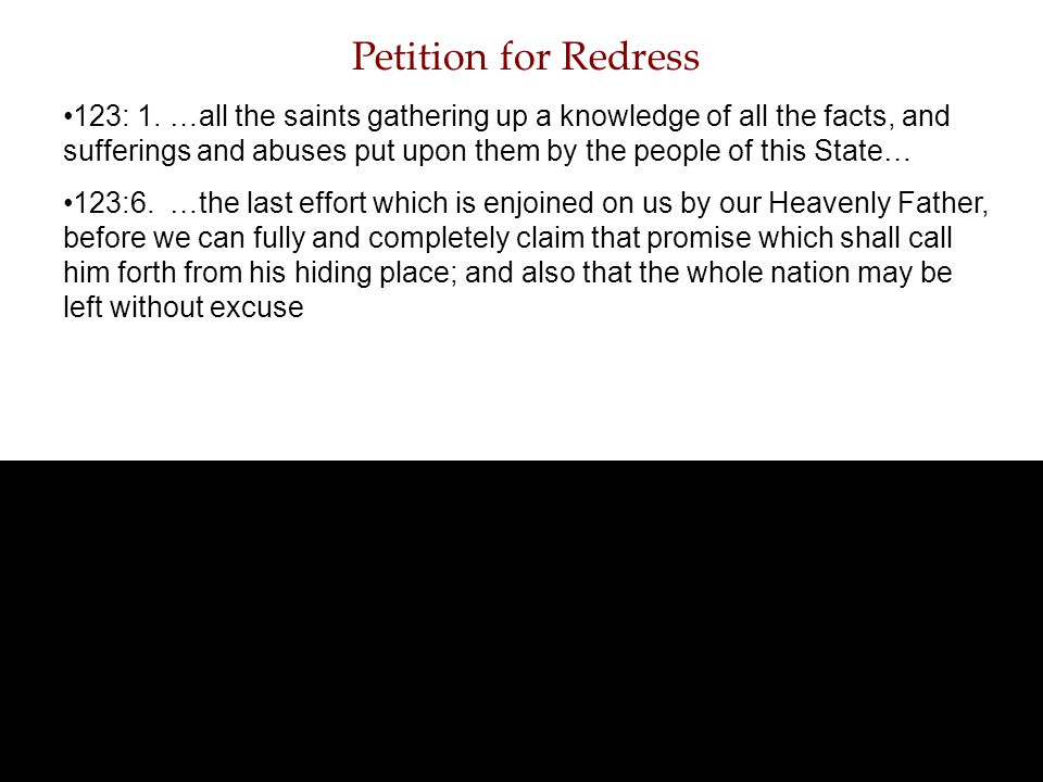 Petition for Redress 123: 1.