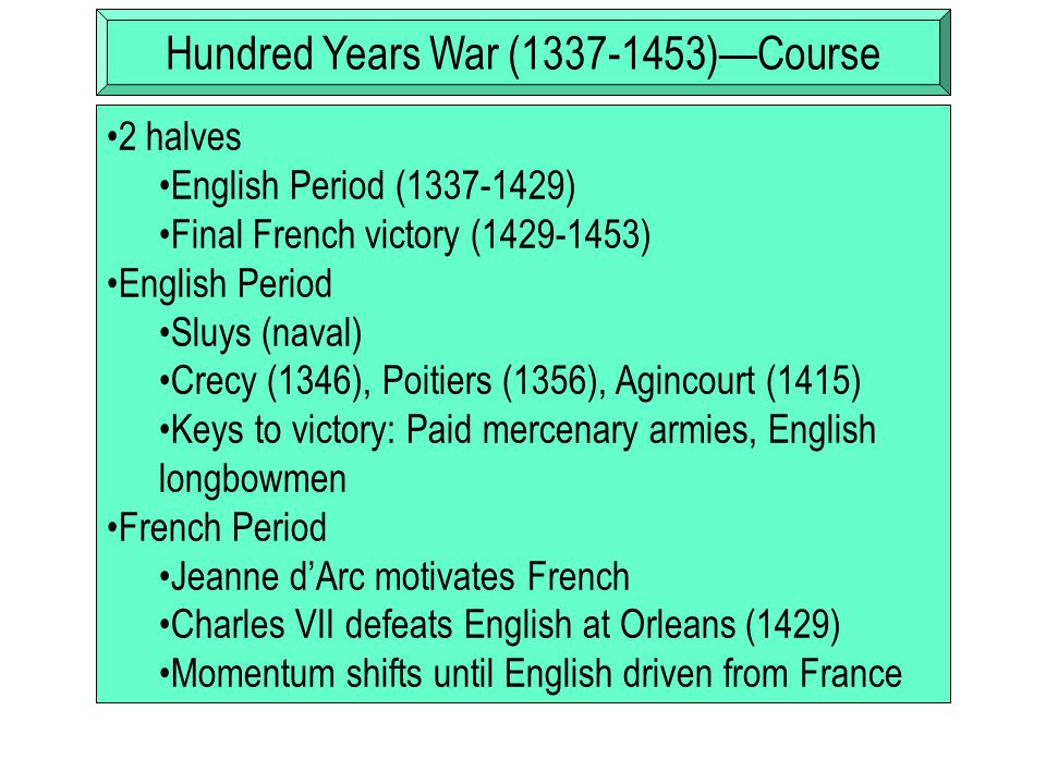 Hundred Years War (1337-1453)—Effects Mercenaries become essential part of European warfare (question: what do unemployed mercenaries do?) Gunpowder artillery signals end of castle and knight warfare  medieval warfare Birth of nation-state (decline of local identity)