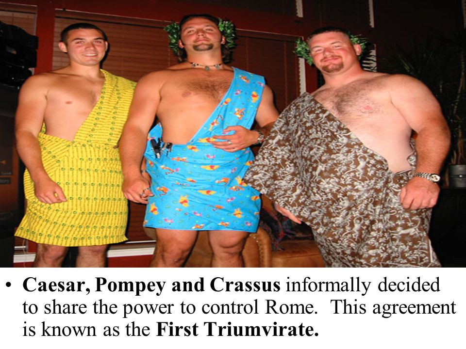 Caesar, Pompey and Crassus informally decided to share the power to control Rome.
