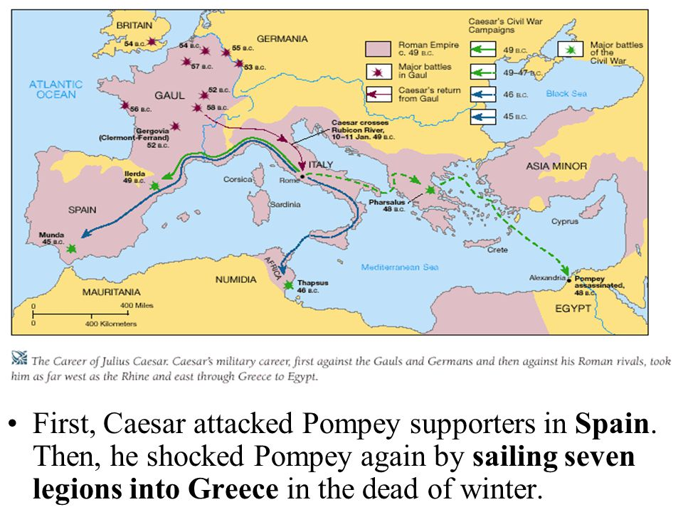 First, Caesar attacked Pompey supporters in Spain.