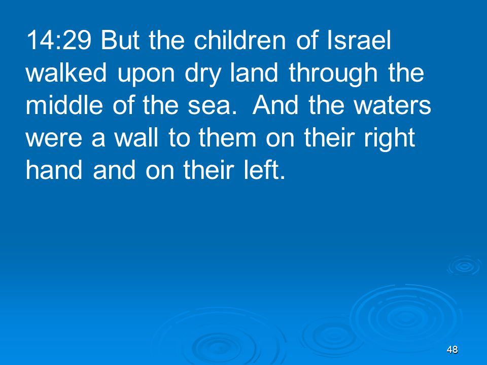 48 14:29 But the children of Israel walked upon dry land through the middle of the sea.