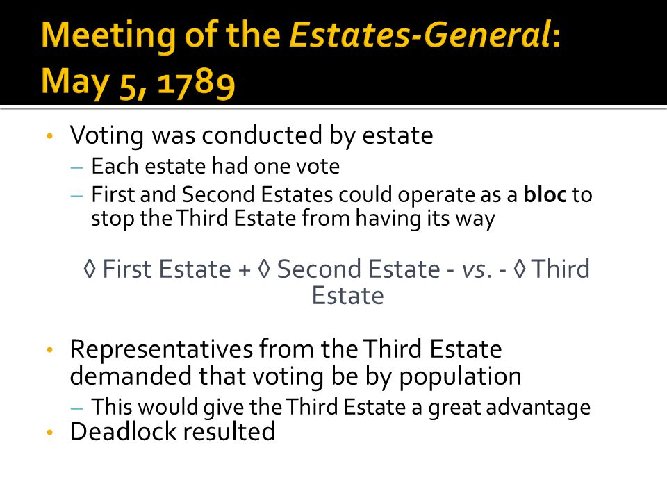 Voting was conducted by estate – Each estate had one vote – First and Second Estates could operate as a bloc to stop the Third Estate from having its