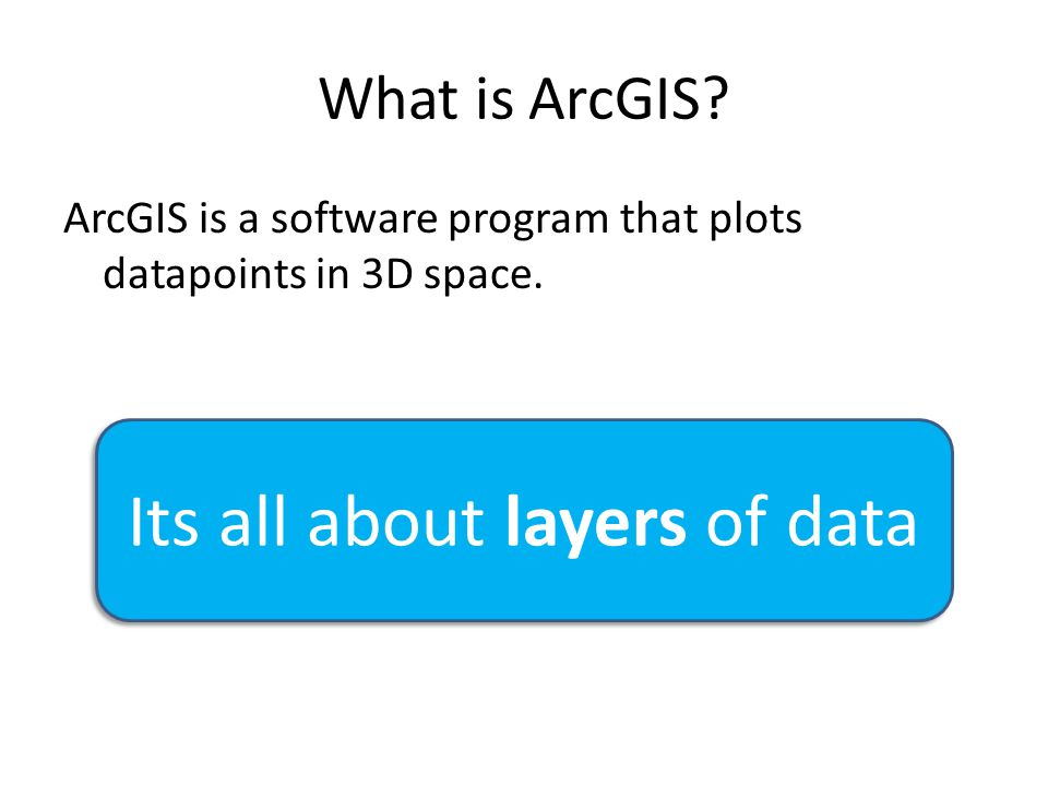 What is ArcGIS? ArcGIS is a software program that plots datapoints in 3D space. Its all about layers of data