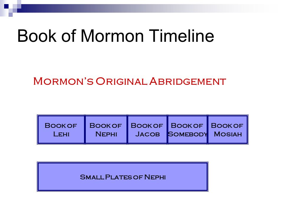 Book of Mormon Timeline Mormon's Original Abridgement Book of Lehi Book of Nephi Book of Jacob Book of Somebody Book of Mosiah Small Plates of Nephi