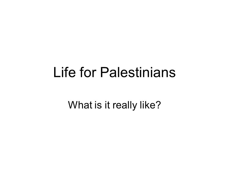 Life for Palestinians What is it really like?