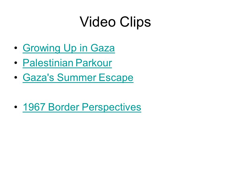 Video Clips Growing Up in Gaza Palestinian Parkour Gaza s Summer Escape 1967 Border Perspectives